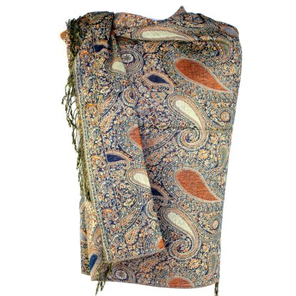 Vintage Paisley Teardrop Twist Rich Double-Sided Pashmina Shawl Scarf Black Orange