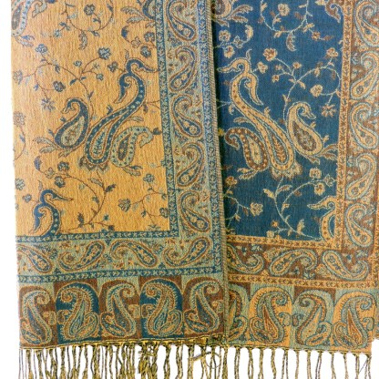 Silver Fever Pashmina - Jacquard Paisley Shawl - Stylish Scarf - Double Sided Wrap Teal Brown