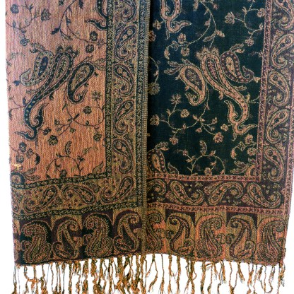 Silver Fever Pashmina - Jacquard Paisley Shawl - Stylish Scarf - Double Sided Wrap Coffee Cranberry