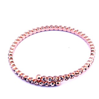 Bezel Set Peach Topaz Cubic Zirconia Rose Gold Tennis Snap Bracelet Thin Bangle