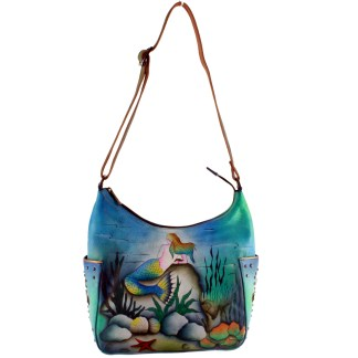 Anushcka Hand Painted Leather Hobo Handbag Blue Little Mermaid Under The Sea