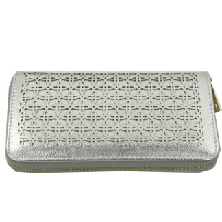 Silver Fever® Perforated Ladies Zip Around Organizer Wallet Clutch Silver