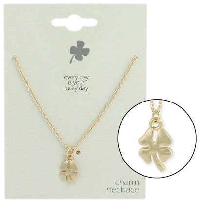 Silver Fever® Gift Ready Tiny Charm Necklace 4 Leaf Clover