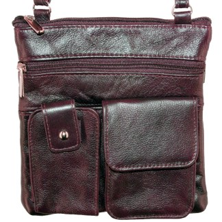 Genuine Leather Wine Shoulder Cross Body Travel Bag