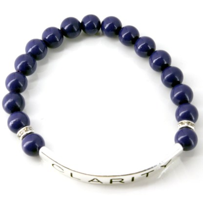 Stackable Stretch 10 MM Bead Bracelet Silver ID Clarity Power Amethyst Stone