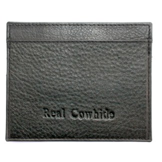 Slim Italian Leather Men's Wallet NO-ID Credit Card Holder Genuine Cowhide Black