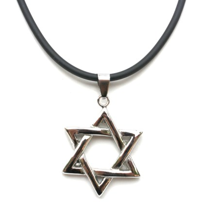 Mogen Star of David Stainless Steel Silver Black Men's Religious Necklace 18-21""