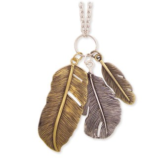 Silver Fever® Long Pendant Feather Necklace