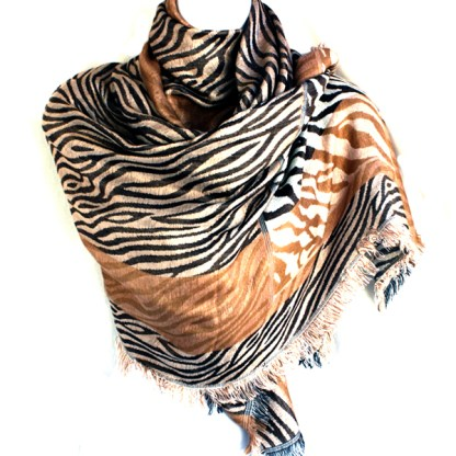 Zebra Animal Print Brown Gray Beige Mix Fringed Pashmina Shawl Scarf Stole Wrap