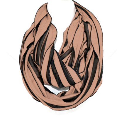 Elegant Ruffled Tan Black Infinity Loop Scarf Wrap