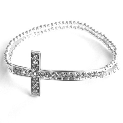 Religious Faith Cross Motif Beaded Polished Silver Plated Double Layer Bracelet