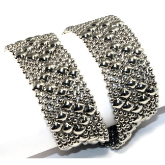 Sergio Gutierrez Liquid Metal Argyle Diamond Pattern Flexible Choker Double Bracelet