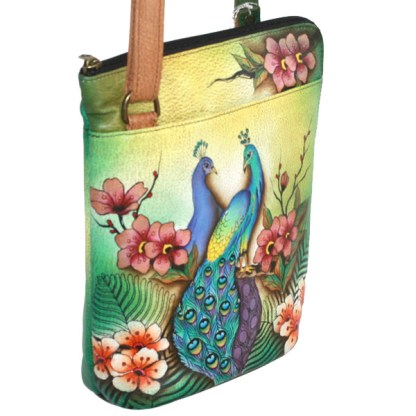 Anuschka Cross Body Travel Organizer Hand Painted Passionate Peacock Birds