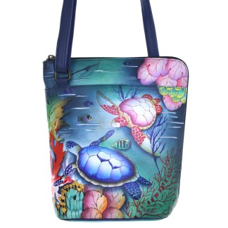 Anuschka Cross Body Travel Organizer Hand Painted Ocean Treasures