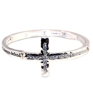 Sideway Cross Silver CZ Adj Bangle Bracelet Sister's Love The Best Sister Gift