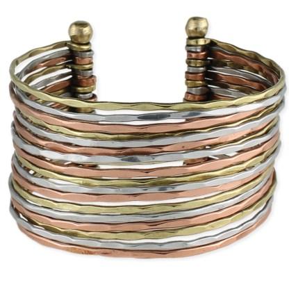 Silver Fever® Tri-Tone Wide Multi Row Metal Cuff Bracelet