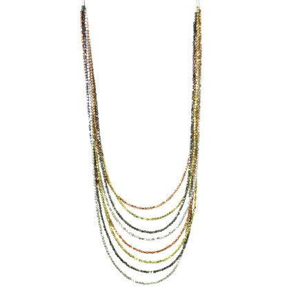 Silver Fever® Long Multi-strand Tri-Tone Metal Bead Necklace