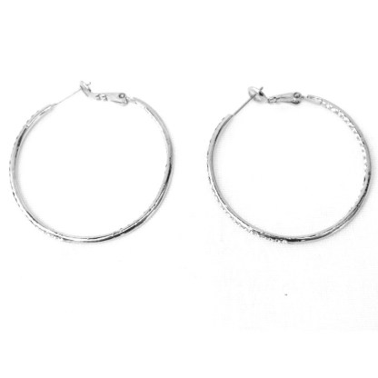 Double Sided Cubic Zirconia Studded 35mm Hoop Silver Plated Fashion Earrings