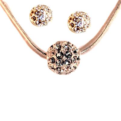Sliding Silver CZ Studded Fireball Earring Necklace SET