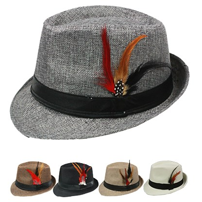 Silver Fever Felt Fedora with Feathers