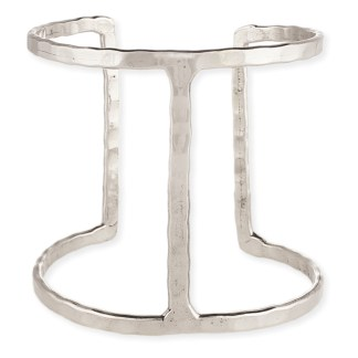Silver Fever® Hammered Metal Bar Wide Cuff Bracelet