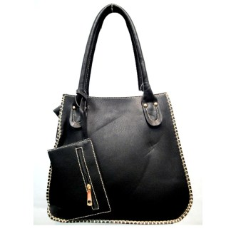 Tall Posh Glamorous Side Gold Plated Chain Border Black Hobo Handbag