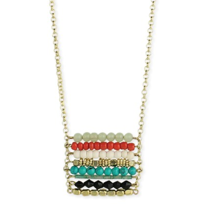 Silver Fever® Square Beaded Pendant Necklace