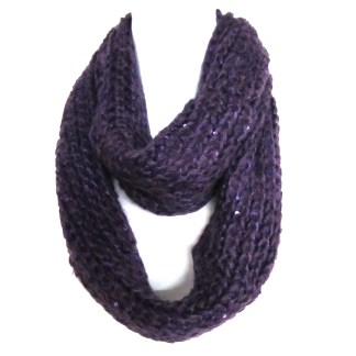 Braided Sequenced Detail Soft Woven Infinity Loop Figure Eight Scarf Purple