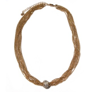 """Sliding CZ Fireball Multiple Faceted Ball Mesh Chains 18Kt Gold Necklace 18+3"""""""