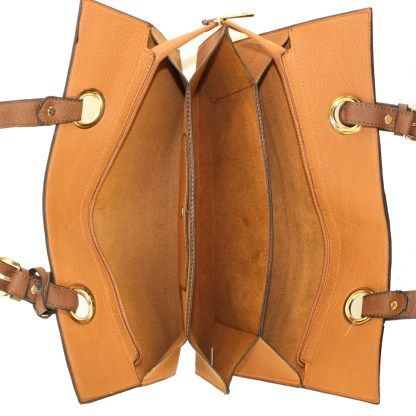 Medium 2-in-1 Flat 2-Tone Camel Tan Pocketbook Tote Shoulder Handbag