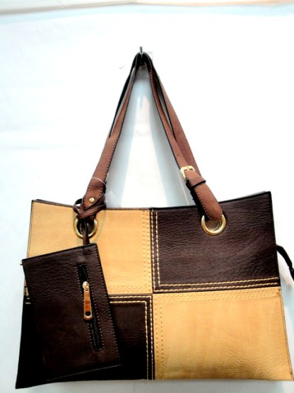 Medium 2-in-1 Flat 2-Tone Coffee Tan Pocketbook Tote Shoulder Handbag