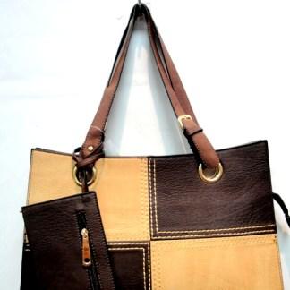 Medium 2-in-1 Flat 2-Tone Coffee Tan Pocketbook Tote Shoulder Handbag
