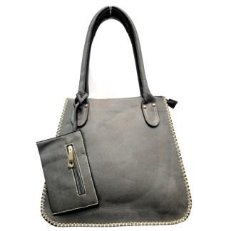 Tall Posh Glamorous Side Gold Plated Chain Border Gray Hobo Handbag