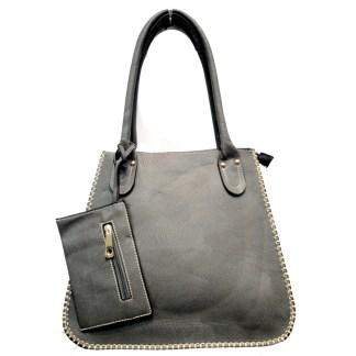 Tall Posh Glamorous Side Gold Plated Chain Border Gray Hobo Handbag