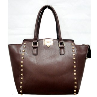 Posh Glamorous Gold Plated Square Studded Brown Tote Handbag