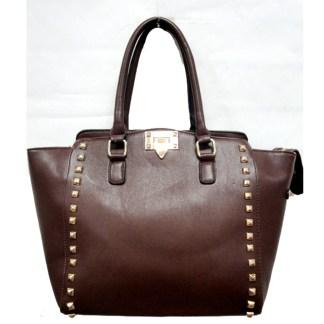 Posh Glamorous Gold Plated Square Studded Brown Tote Handbag