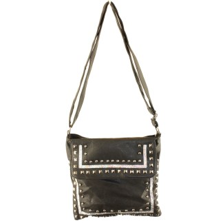 Zippered Crystal & Metal Studded Black Crossbody Messenger Bag