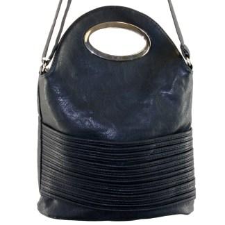 Flip Handle Black Layered Strands Crossbody Messenger Bag