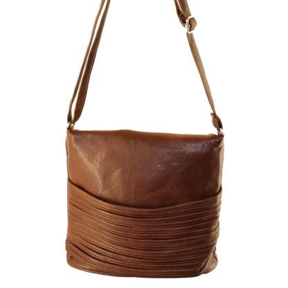 Flip Handle Medium Brown Layered Strands Crossbody Messenger Bag
