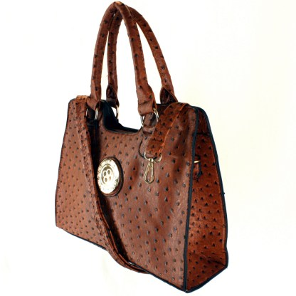 Ostrich Print Embossed Medium Structured Coffee Satchel Silver Fever® Handbag Crossbody
