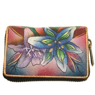Anuschka Hand Painted Genuine Leather Credt Business Card Holder Luscious Lilies Denim