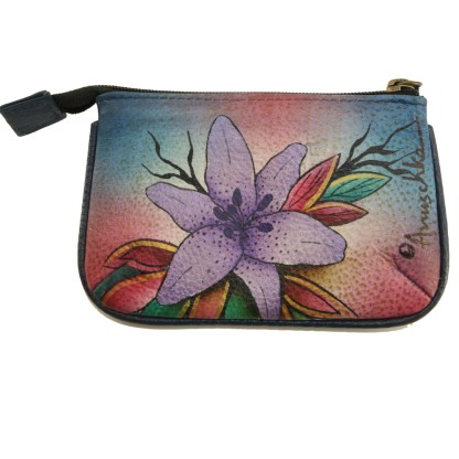 Anuschka Hand Painted Genuine Leather Medium Coin Purse Luscious Lilies Denim