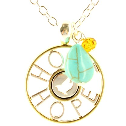 Two Tone Charm Necklace Teardrop Turquoise Stone & Crystals Perfect Hope Gift