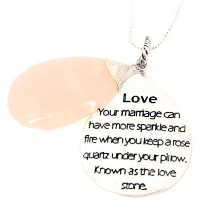 LG Teardrop Power Of Stone Inspirational Silver PL Necklace Rose Quartz Love