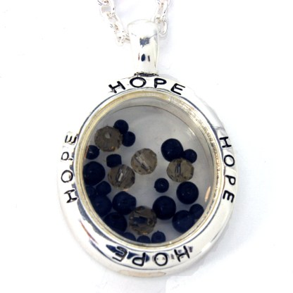 Floating Stones Silver Plated Inspirational Necklace Gift Onyx Spirit & Hope