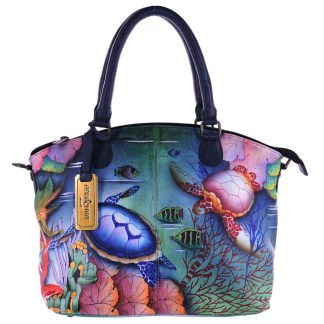 Anuschka Gen Leather Medium Convertible Satchel Hand Painted Ocean Treasures