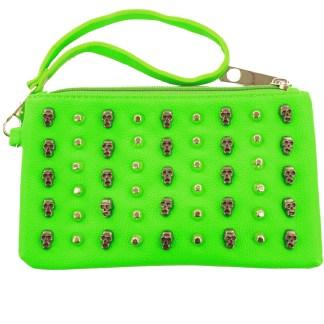 Small Neon Green Studded Skulls Punk Rock Bad Girl Wristlet Bag