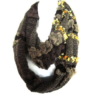 Mixed Weaves Infinity Loop Figure Eight Light Summer Scarf  Multicolor Brown