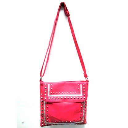 Zippered Crystal & Metal Studded Rose Pink Crossbody Messenger Bag