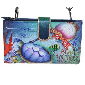 Anuschka Large Smart Phone Case & Wallet Bag Genuine Handpainted Leather Ocean Treasures
